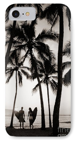 Silhouetted Surfers - Sep Phone Case by Dana Edmunds - Printscapes