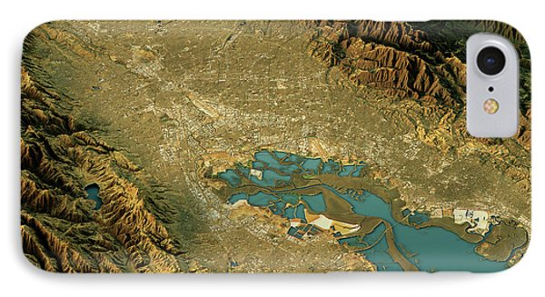 Silicon Valley 3d Landscape View North-south Natural Color IPhone Case by Frank Ramspott