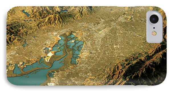 Silicon Valley 3d Landscape View West-east Natural Color IPhone Case by Frank Ramspott
