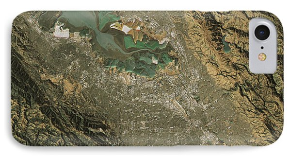 Silicon Valley Topographic Map Natural Color Top View IPhone Case by Frank Ramspott