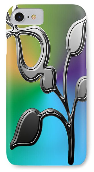 Silver Floral Abstract IPhone Case