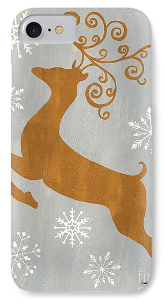 Silver Gold Reindeer IPhone Case by Debbie DeWitt