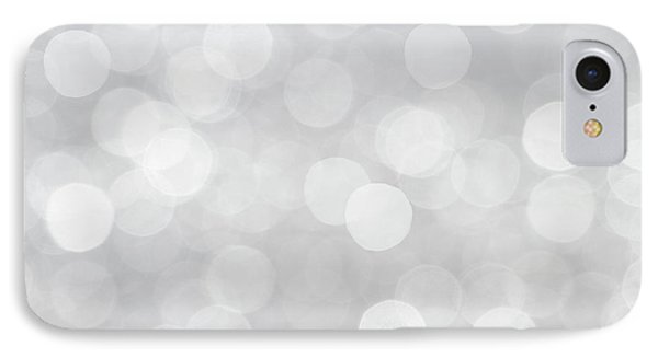 Silver Grey Bokeh Abstract IPhone Case by Peggy Collins
