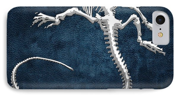 Silver Iguana Skeleton On Blue Silver Iguana Skeleton On Blue  IPhone Case