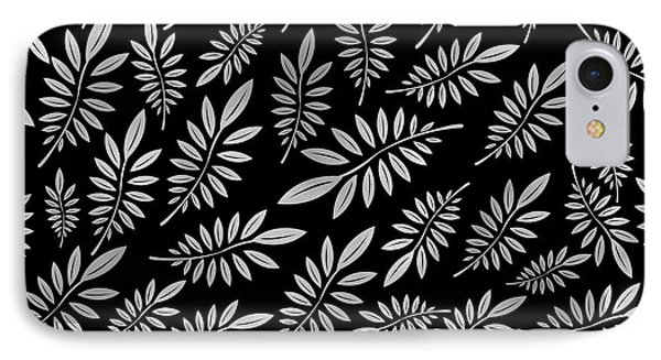 Silver Leaf Pattern 2 IPhone 7 Case by Stanley Wong
