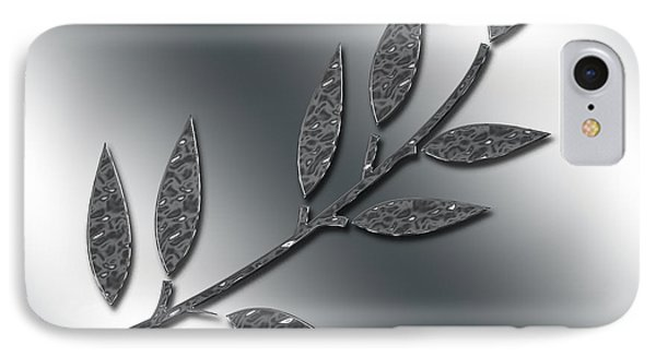 Silver Leaves Abstract IPhone Case