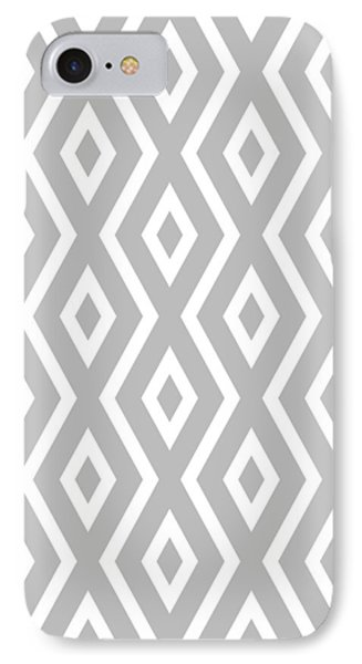 IPhone 7 Case featuring the mixed media Silver Pattern by Christina Rollo