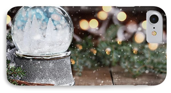 IPhone Case featuring the photograph Silver Snow Globe With White Christmas Trees by Stephanie Frey