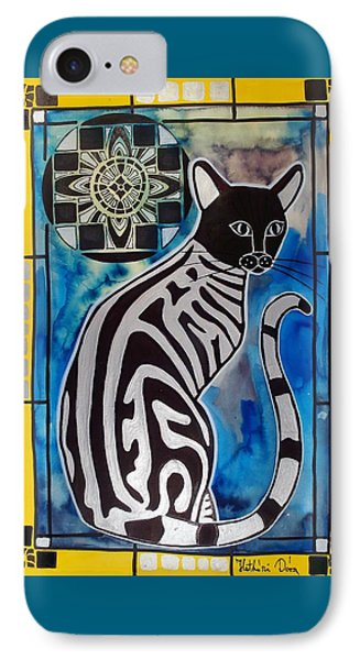 IPhone Case featuring the painting Silver Tabby With Mandala - Cat Art By Dora Hathazi Mendes by Dora Hathazi Mendes