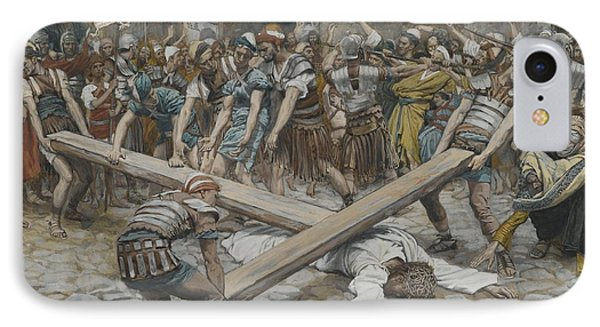 Simon The Cyrenian Compelled To Carry The Cross With Jesus Phone Case by Tissot