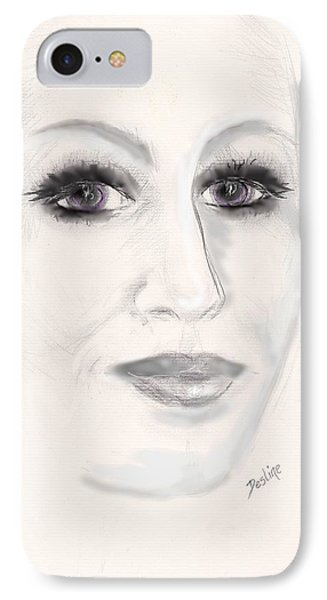 IPhone Case featuring the drawing Simply Woman by Desline Vitto