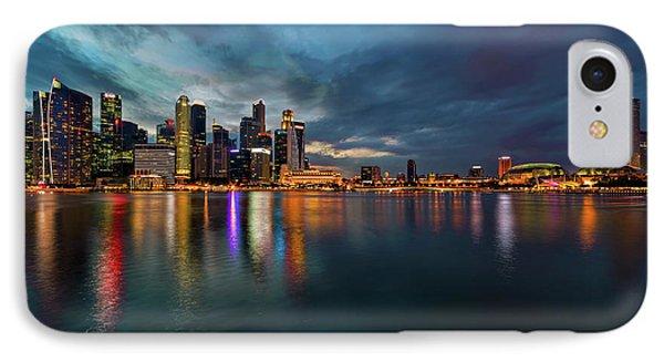 Singapore City Skyline At Evening Twilight Phone Case by David Gn