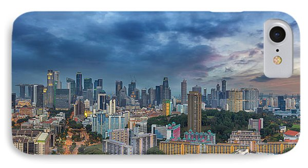 Singapore Cityscape At Sunset Phone Case by David Gn