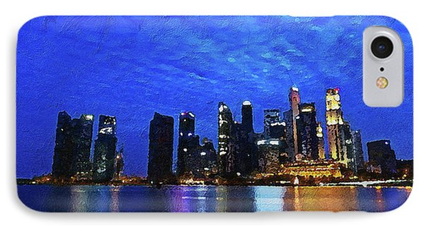 IPhone Case featuring the digital art Singapore City by PixBreak Art