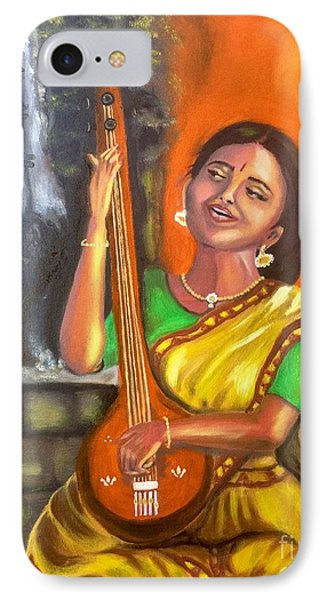 IPhone Case featuring the painting Singing @ Sunrise  by Brindha Naveen