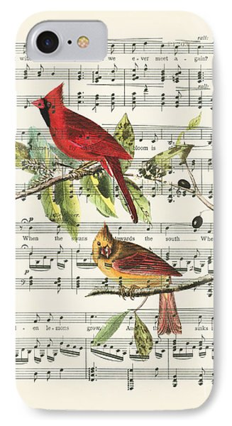 Swallow iPhone 7 Case - Singing Cardinals by Delphimages Photo Creations