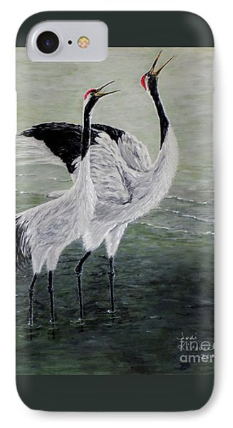 IPhone Case featuring the painting Singing Cranes by Judy Kirouac