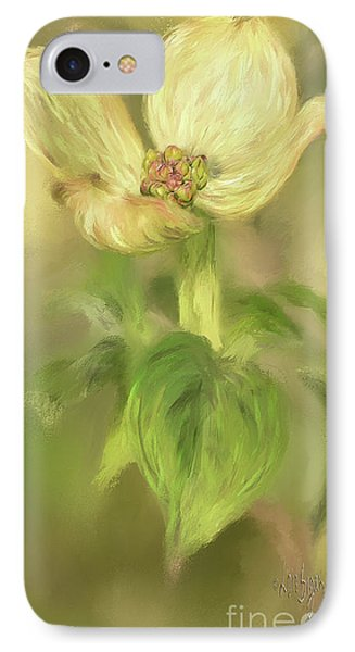 IPhone Case featuring the digital art Single Dogwood Blossom In Evening Light by Lois Bryan