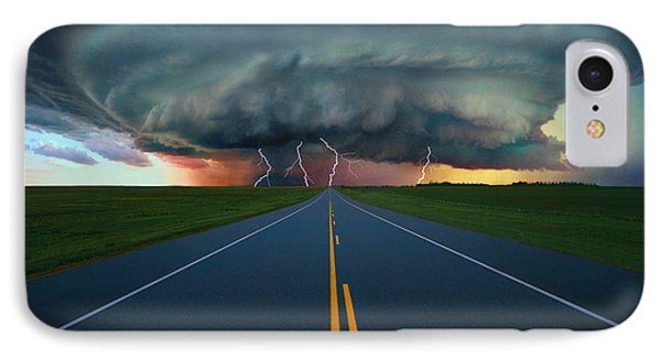 Single Lane Road Leading To Storm Cloud Phone Case by Don Hammond