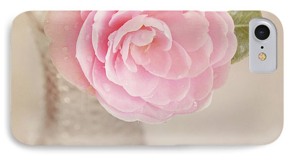 IPhone Case featuring the photograph Single Pink Camelia Flower In Clear Vase by Lyn Randle