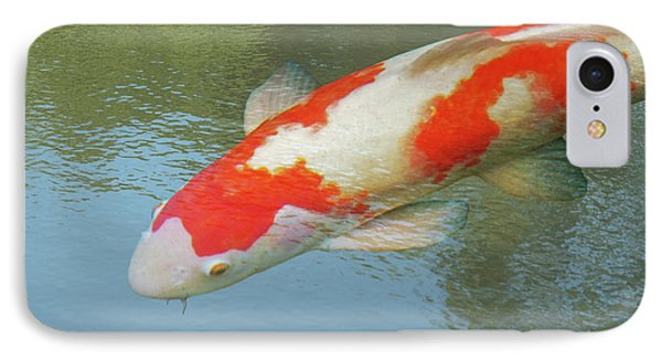 IPhone Case featuring the photograph Single Red And White Koi by Gill Billington