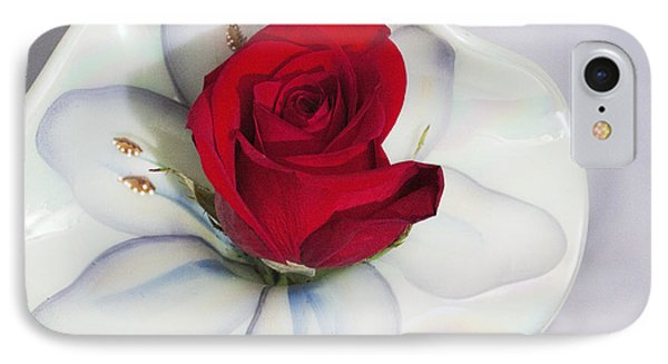 Single Red Rose In Fenton Vase IPhone Case