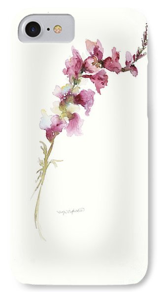 IPhone Case featuring the painting Single Stem Snapdragon by Sandra Strohschein