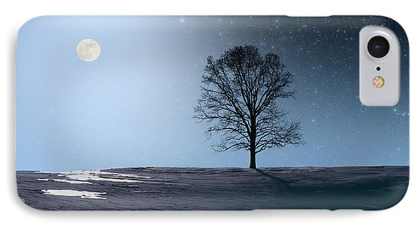 Single Tree In Moonlight IPhone Case by Larry Landolfi