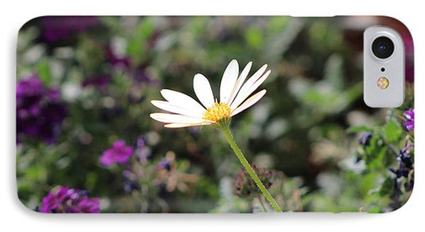 Single White Daisy On Purple Phone Case by Colleen Cornelius