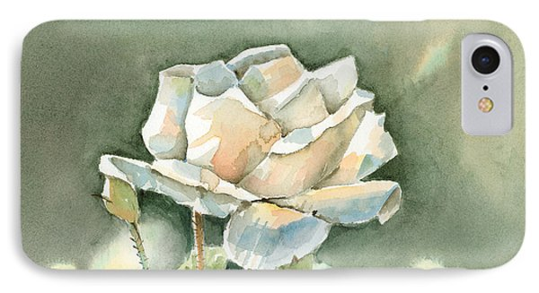 Single  White Rose IPhone Case by Arline Wagner