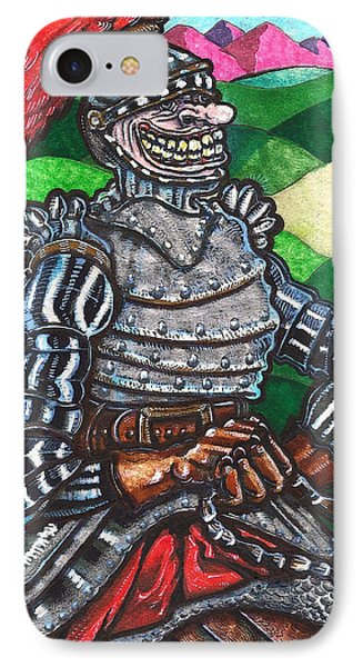 IPhone Case featuring the drawing Sir Bols The Black Knight by Al Goldfarb