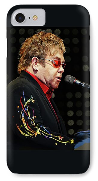 Sir Elton John At The Piano IPhone 7 Case by Elaine Plesser