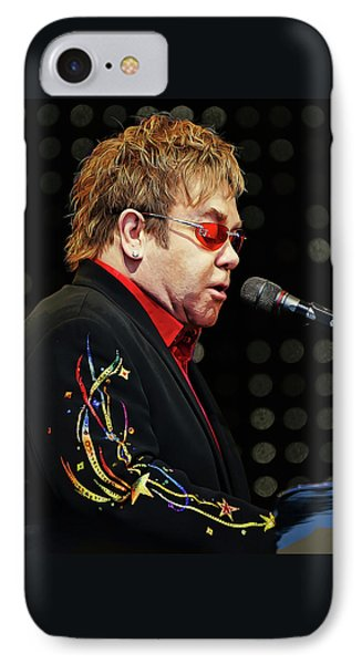 Sir Elton John At The Piano IPhone Case by Elaine Plesser