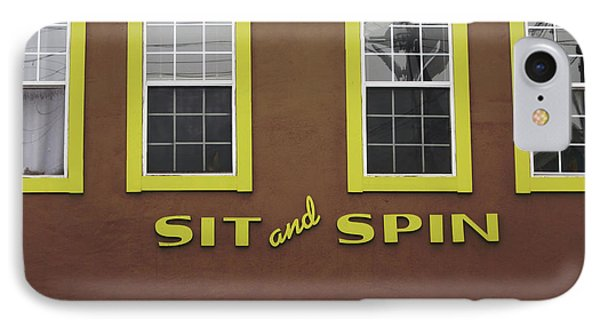 IPhone Case featuring the mixed media Sit And Spin Laundromat Color- By Linda Woods by Linda Woods