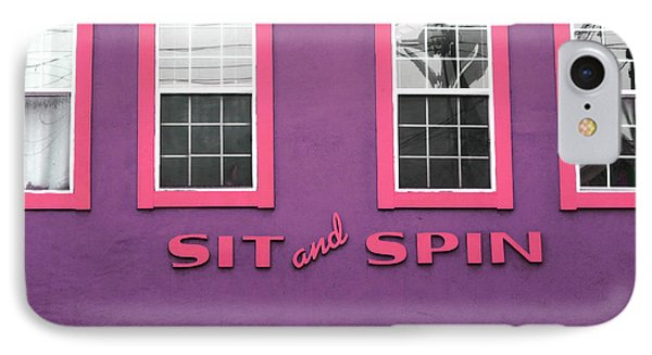 IPhone Case featuring the mixed media Sit And Spin Laundromat Purple- By Linda Woods by Linda Woods