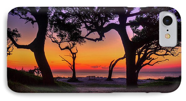 Sit With Me Driftwood Beach Sunrise Jekyll Island Georgia IPhone Case by Reid Callaway