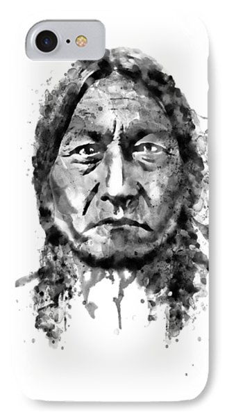 IPhone Case featuring the mixed media Sitting Bull Black And White by Marian Voicu