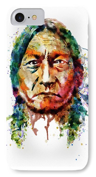 Sitting Bull Watercolor Painting IPhone Case