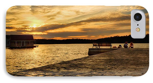 Sitting On The Dock Of The Lake IPhone Case by Mark Miller