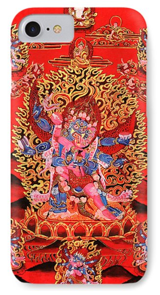 Six-armed Winged Mahakala In Yab Yum IPhone Case by Lanjee Chee