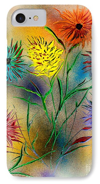 IPhone Case featuring the painting Six Flowers - E by Greg Moores