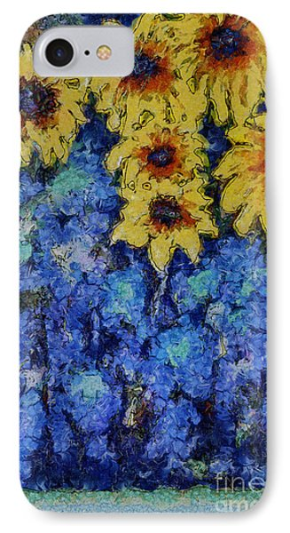 Six Sunflowers On Blue Phone Case by Claire Bull