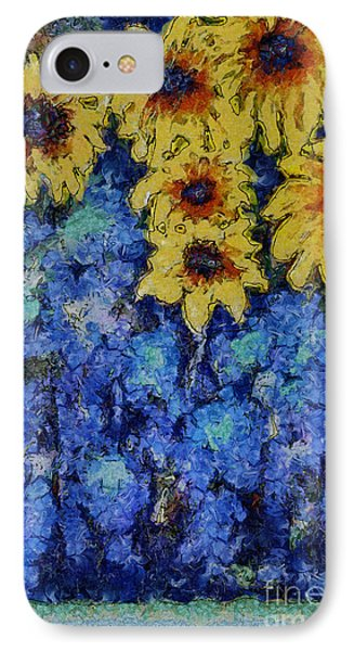 IPhone Case featuring the photograph Six Sunflowers On Blue by Claire Bull