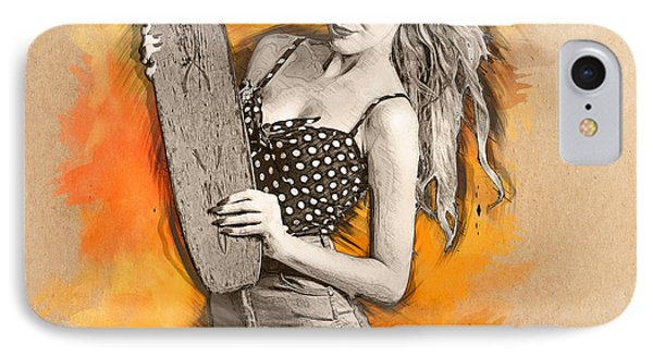 Skateboard Pin-up Illustration IPhone Case by Jorgo Photography - Wall Art Gallery