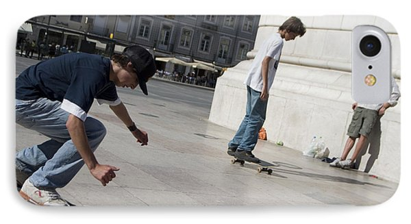 Skateboarder In Lisbon IPhone Case by Carl Purcell