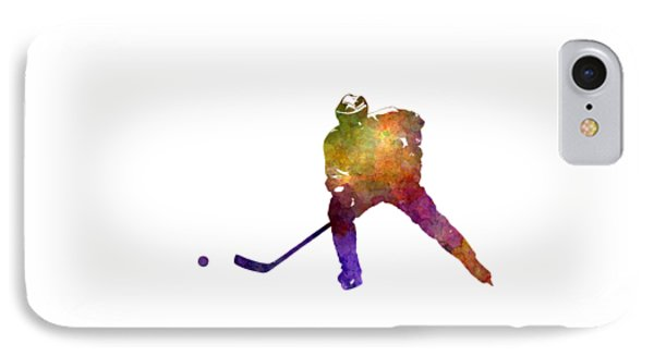 Skater Of Hockey In Watercolor IPhone Case