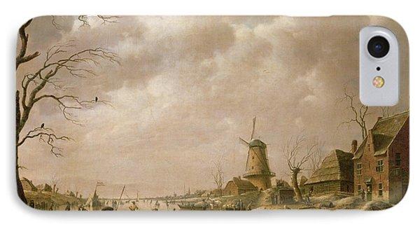 Skaters On A Frozen Canal IPhone Case by Hendrik Willem Schweickardt