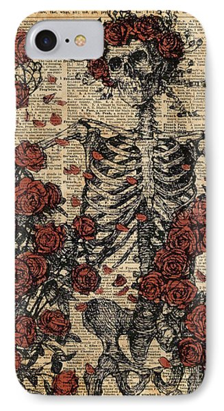 Skeleton Art, Skeleton With Roses Book Art,human Anatomy IPhone Case by Jacob Kuch