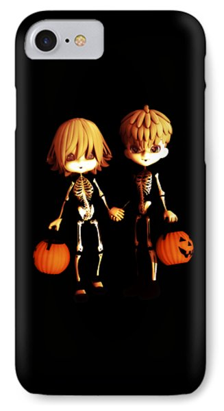 IPhone Case featuring the digital art Skeleton Twinz Halloween by Methune Hively