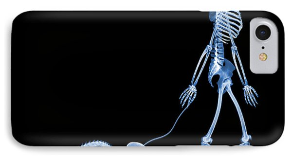 Skeleton Walking A Marmoset, X-ray IPhone Case by D. Roberts